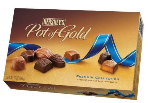 $4.99 Hershey's Pot of Gold Assorted Milk and Dark Chocolates Premium Collection, 10-Ounce Box @ Amazon