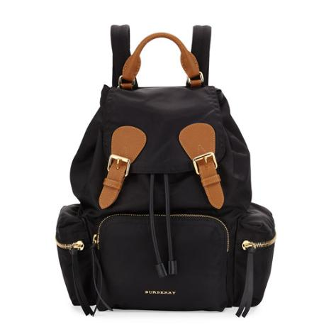 Up to $600 GIFT CARD Burberry Nylon Backpack, Black @ Neiman Marcus