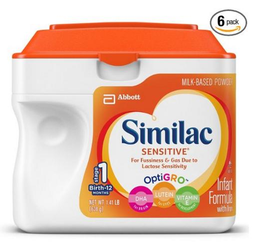 Similac Sensitive Infant Formula with Iron, Powder, 23.3 Ounces (Pack of 6) (Packaging May Vary) by Similac