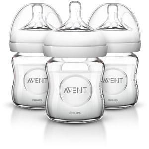 Philips AVENT Natural Glass Bottle, 4 Ounce (Pack of 3)