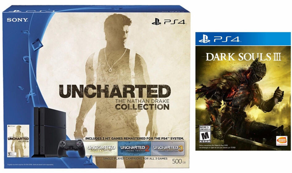 $349.99 Playstation 4 500GB The Nathan Drake Uncharted (Disc) Bundle+Dark Souls 3(Disc)