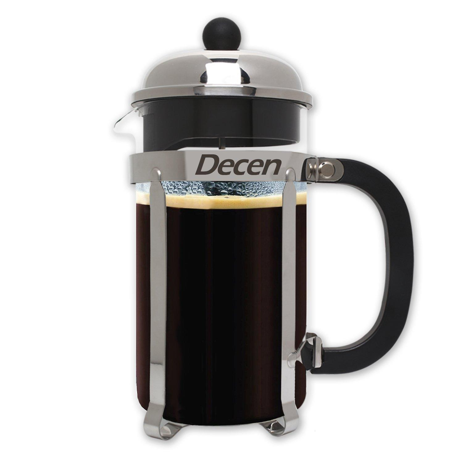 DECEN French Press Coffee Maker with Stainless Steel Holder 8 Cups/4 Mugs