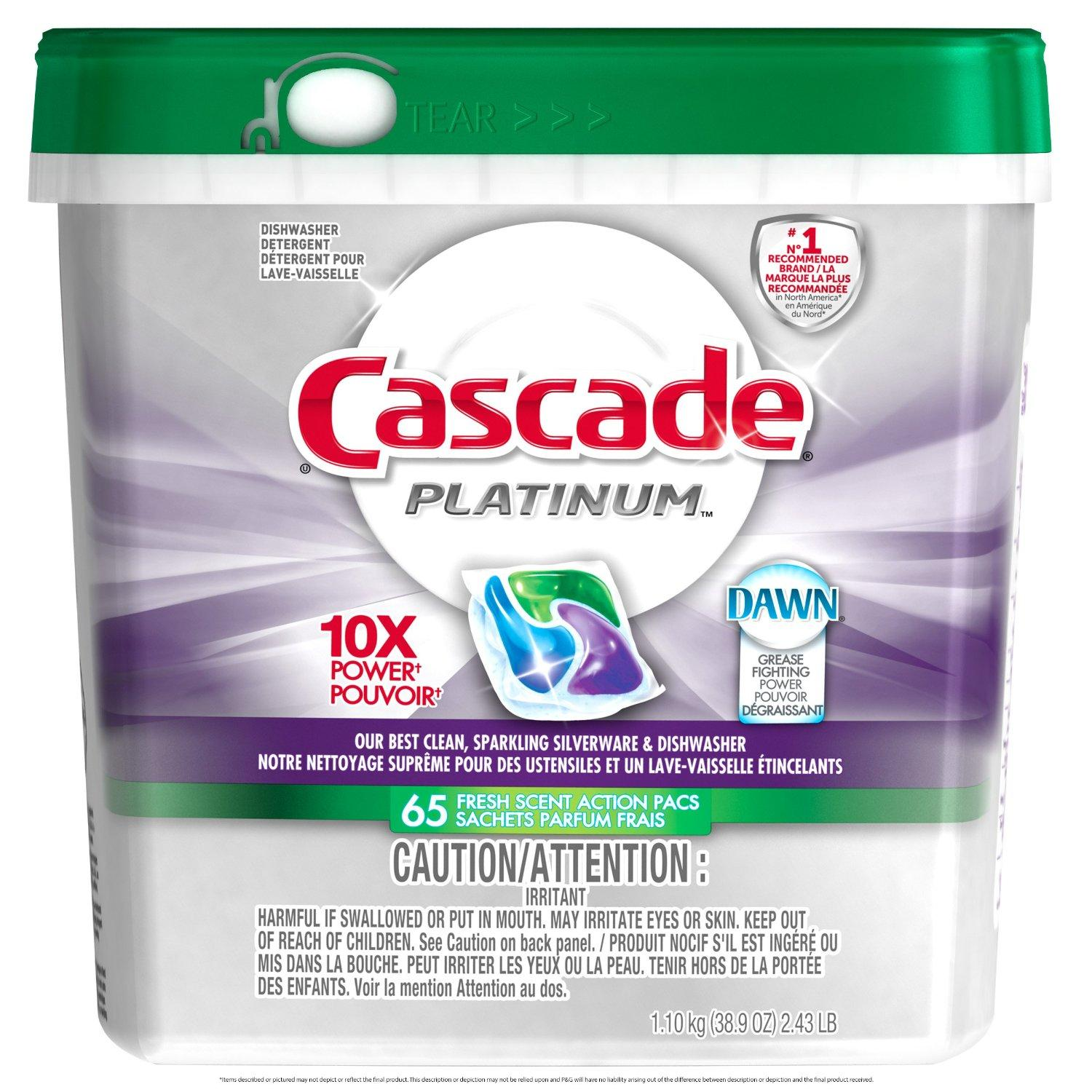 $12.07 Cascade Platinum Actionpacs, Fresh Scent, 65 Count