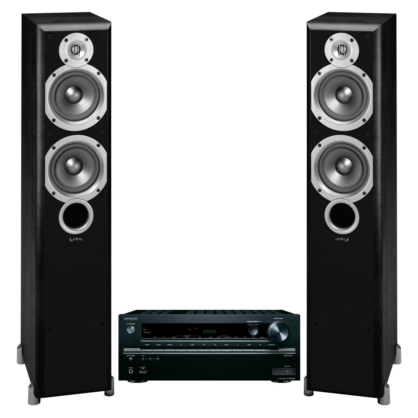 Onkyo TXNR646 7.2 Channel w/ Infinity Primus P253 Floorstanding Speakers (Black)