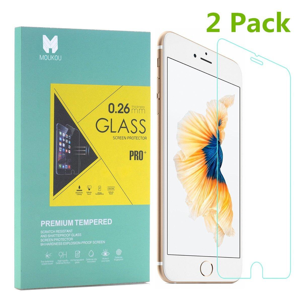 """$2.99 MouKou iPhone 6  Screen Protector Tempered Glass Screen Protectors 2-Pack Rounded Edges for iPhone 6/6s 4.7"""""""