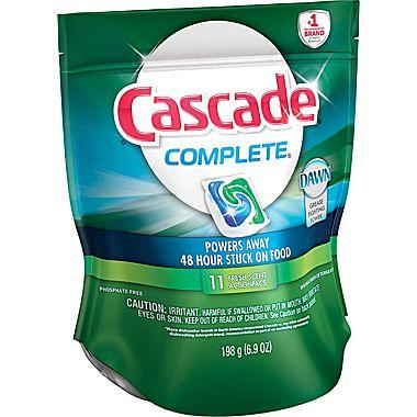 $2.29 Cascade Complete All-in-1 Action Pacs Dishwasher Detergent, Fresh Scent, 11/Pack