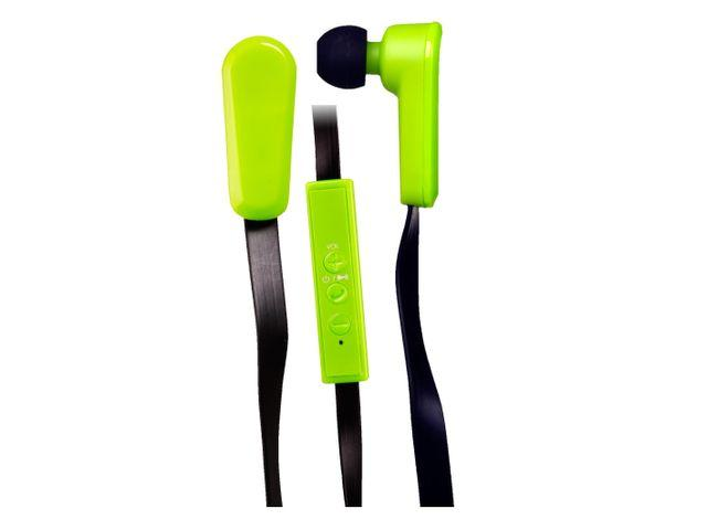 QFX H-150BT Bluetooth Stereo Sports Earbuds with Microphone and In-Line Controls (Green)