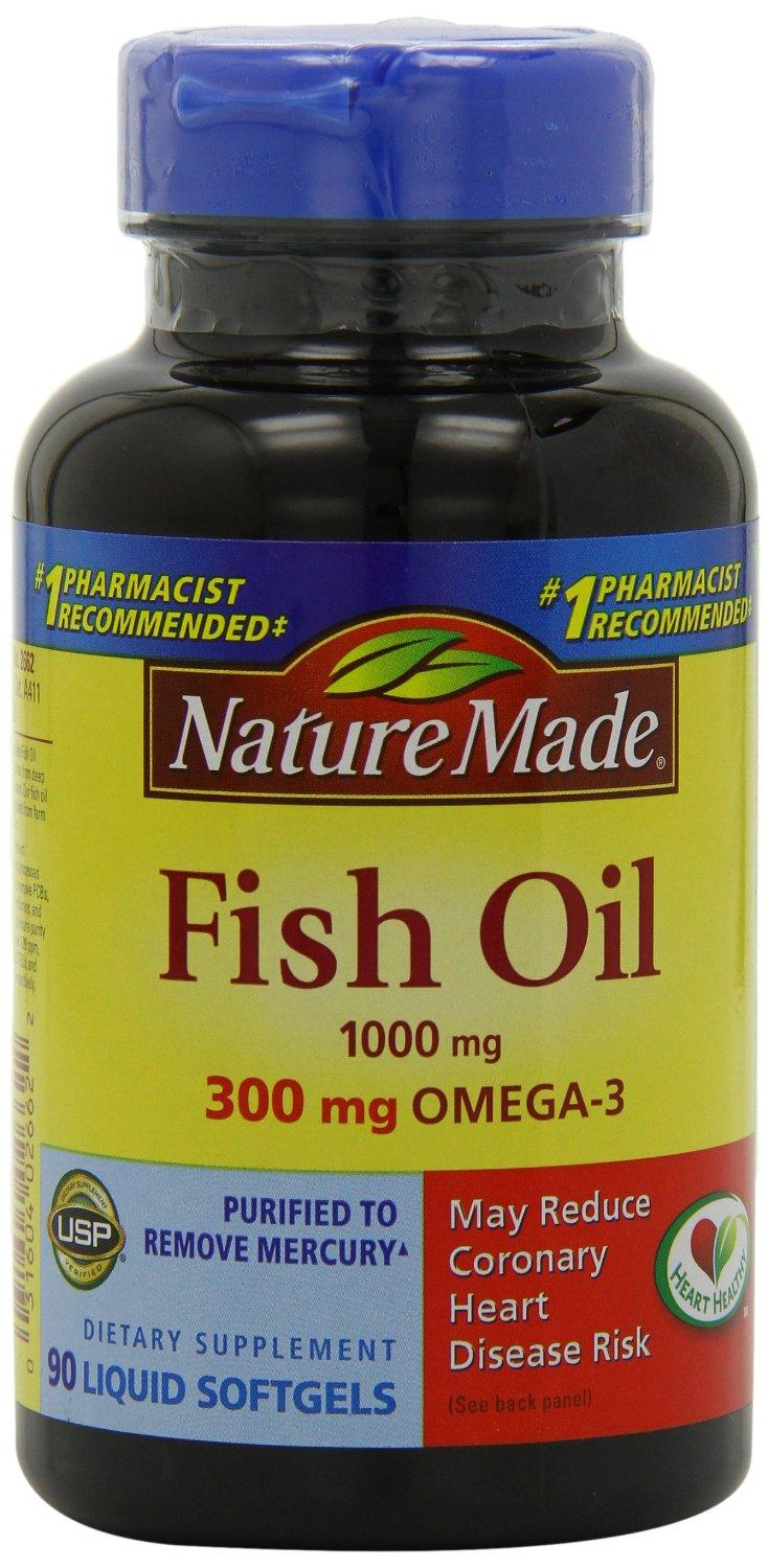 $4.27 Nature Made Fish Oil Softgel Omega-3, 1000mg, 90 Softgels