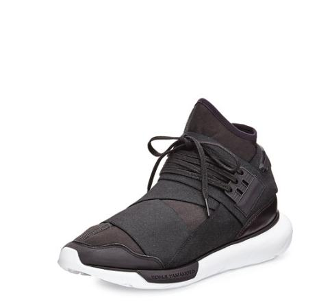 Y-3 Qasa High-Top Trainer Sneaker, Black @ Neiman Marcus