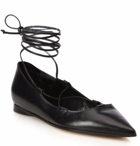 Michael Kors Collection Kallie Lace-Up Leather Flats