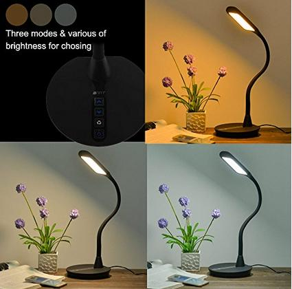 $29.99 ANNT 10W 3 Modes 5-Level Dimmer Gooseneck Dimmable Eye-Care LED Desk Lamp with USB Memory Function
