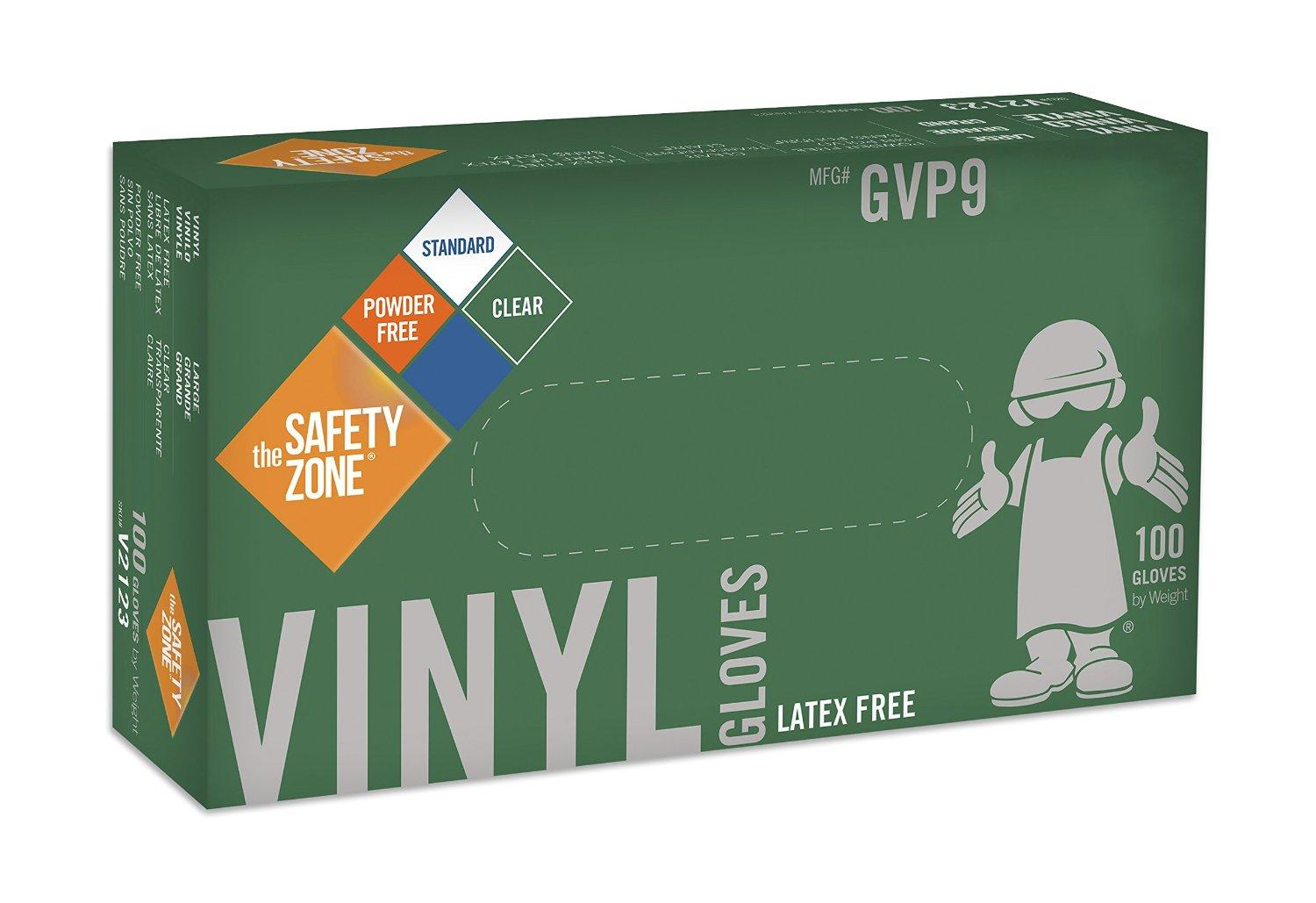 $3.78 The Safety Zone Disposable Vinyl Gloves   (Box of 100)