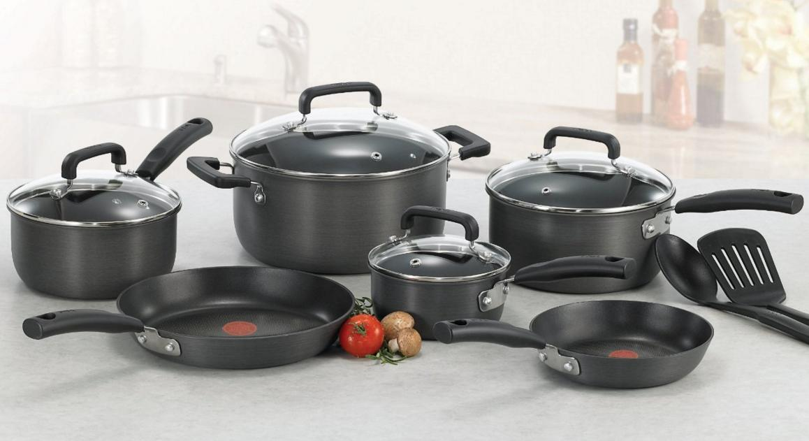 0 T-fal D913SC Signature Hard Anodized Nonstick Thermo-Spot Heat Indicator Cookware Set, 12-Piece, Gray  @ Amazon.com