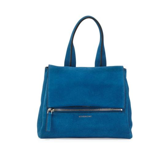 Givenchy  Pandora Pure Small Suede Satchel Bag, Electric Blue @ Bergdorf Goodman