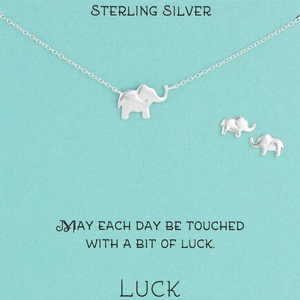 Amazon Collection Sterling Silver Elephant Necklace and Earrings Jewelry Set