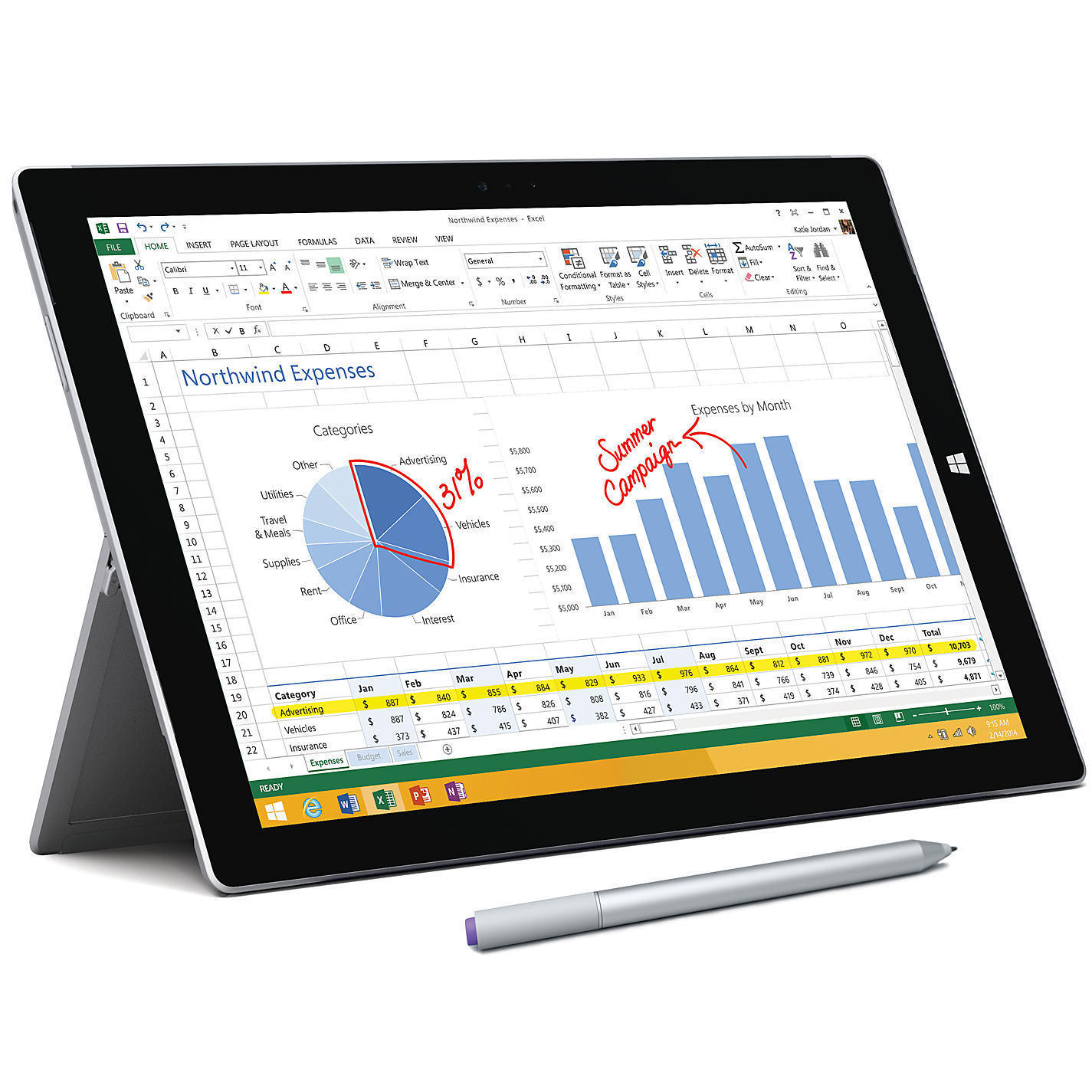 "$879.99 Microsoft Surface Pro 3 Tablet 12"" 256GB Intel Core i5"
