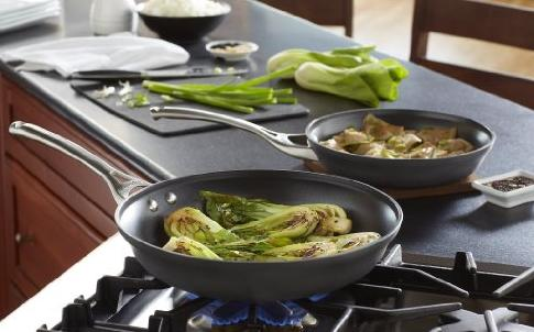 $37.49 Calphalon Contemporary Hard-Anodized Aluminum Nonstick Cookware, Omelette Pan, 10-inch and 12-inch Set, Black