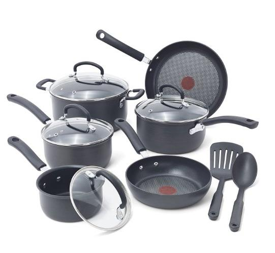 $74.99 T-fal Ultimate Hard Anodized Durable Nonstick Cookware Set, 12-Piece, Gray