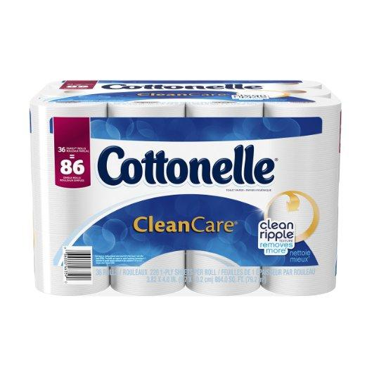 Cottonelle CleanCare Family Roll Toilet Paper Bath Tissue, 36 Rolls