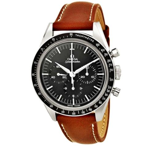 $3295 OMEGA LIMITED 50TH ANNIVERSARY EDITION Speedmaster Moonwatch Black Dial Brown Leather Men's Watch