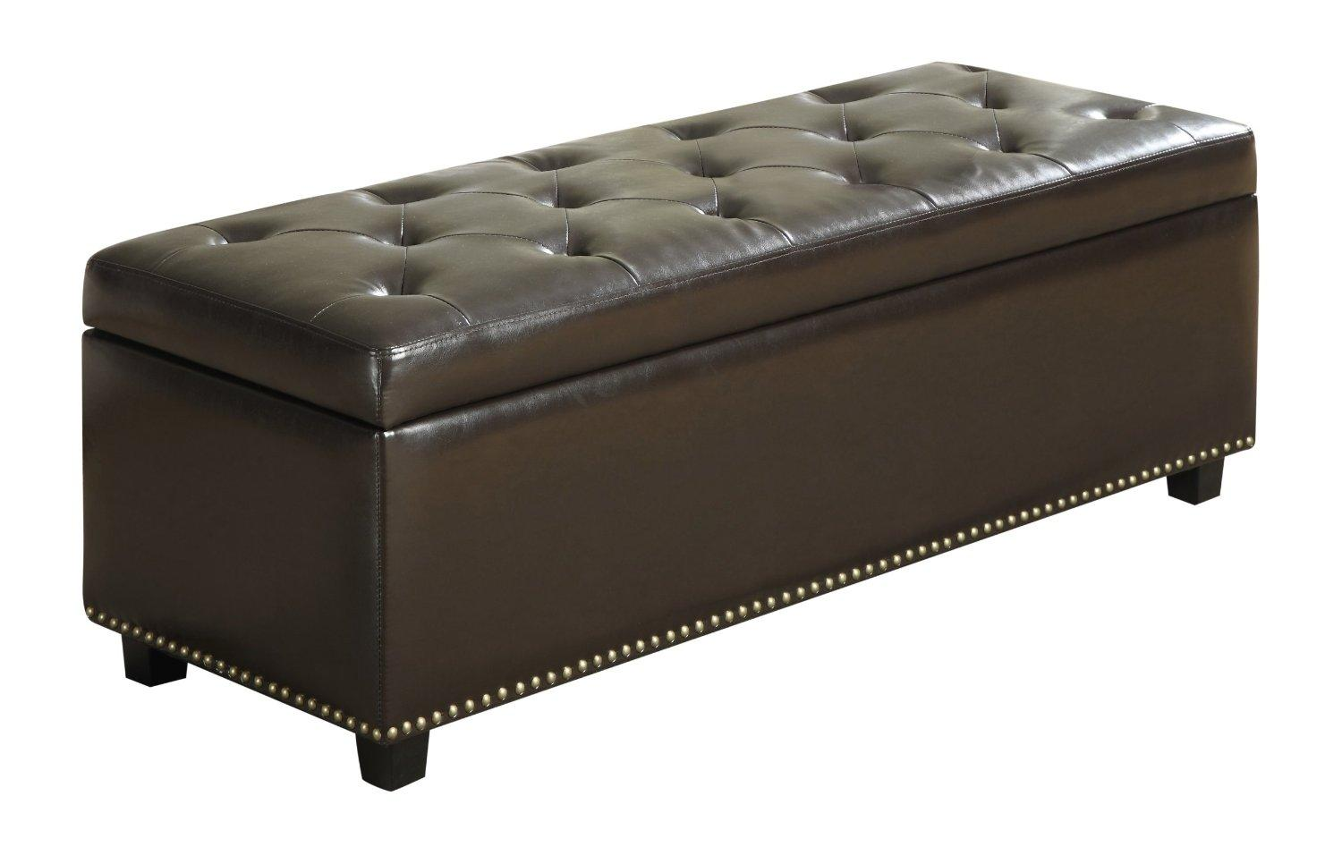 Simpli Home Hamilton Rectangular Storage Ottoman, Brown