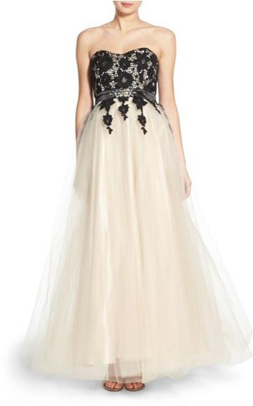 Steppin Out 'Niki' Lace Overlay Strapless Gown @ Nordstrom