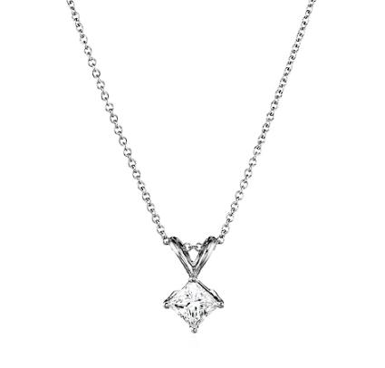 Today only! IGI Certified 18k White Gold Princess-Cut Diamond Pendant Necklace (1/2cttw, G-H Color,VS2 Clarity), 18