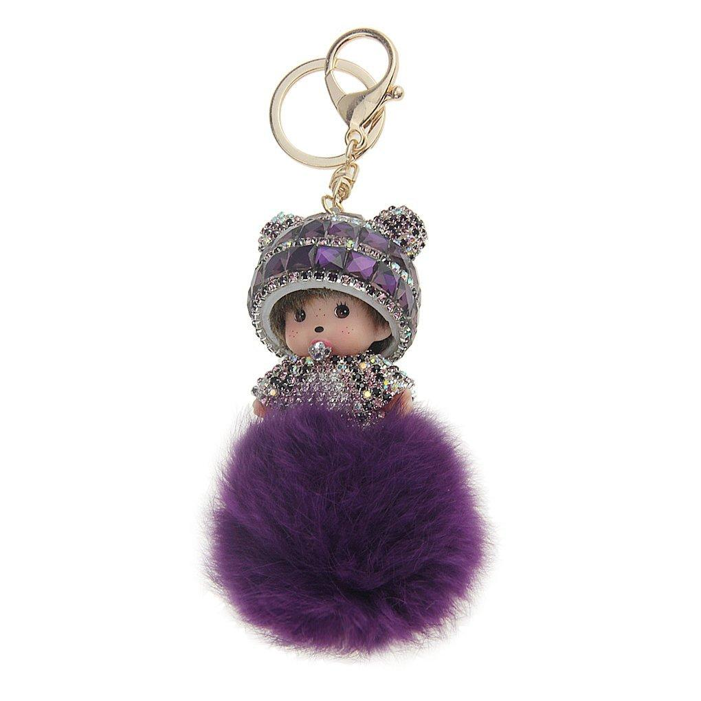 Lovely Monchhichi Doll Crystal Diamond Keychain