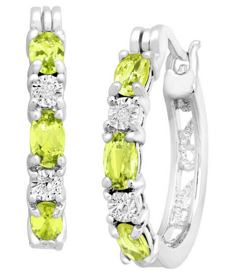 1 5/8 ct Peridot Hoop Earrings with Diamonds
