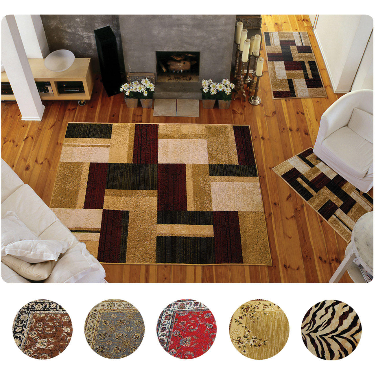 $39.99 3 Piece Set Modern or Traditional Area Rugs Scatter Throw Carpet Mat
