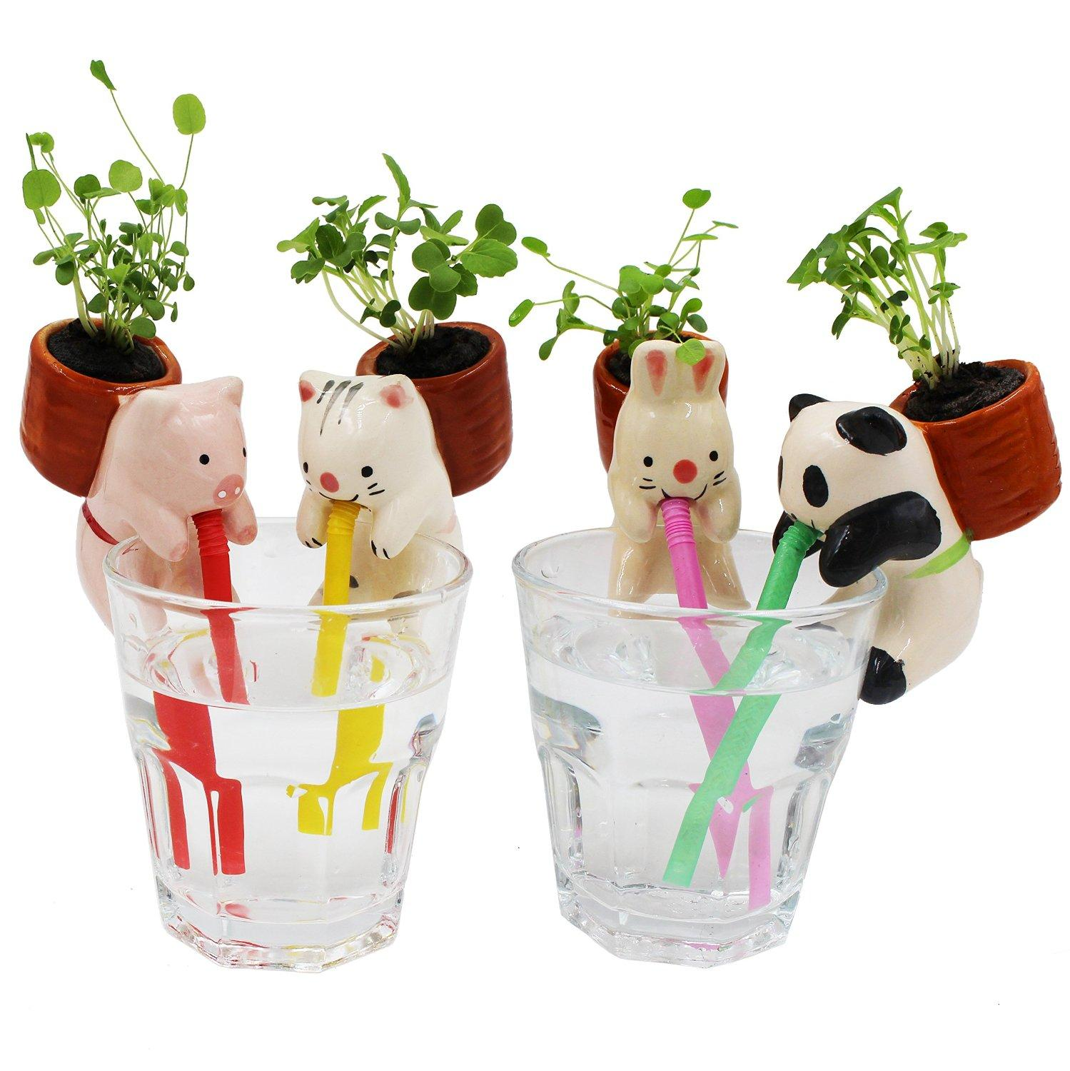 EMIDO Ceramic Mini Self Watering Plant Pot (4Pieces/Set)