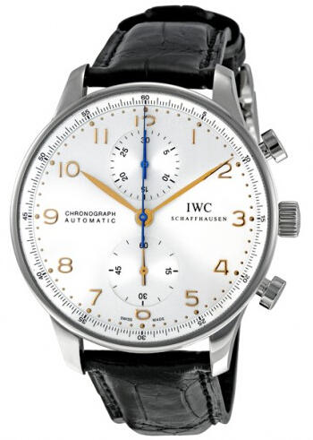 $5445 IWC Portuguese Chronograph Mechanical Silver Dial Men's Watch 3714-45