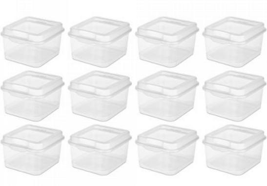 Sterilite 18038612 Small Flip Top Storage Box, Pack of 12