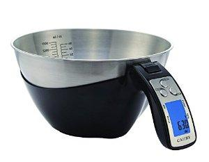 Camry 11lb / 5kg Precision Digital Mixing Bowl Kitchen Scale Stainless Steel Five Measuring Modes (Black)