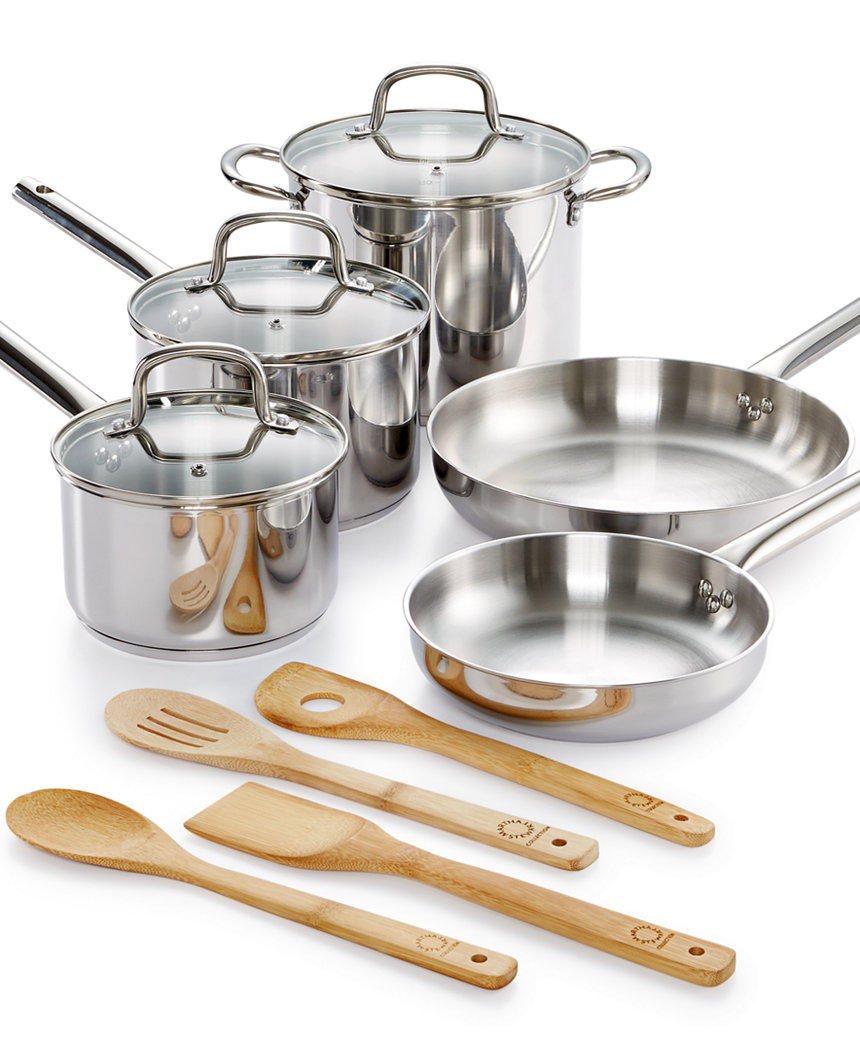 $44.99 Martha Stewart Collection 12-Pc. Stainless Steel Cookware Set