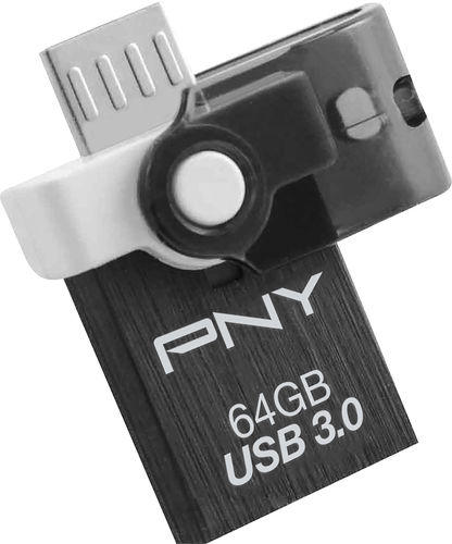 $9.99 PNY - DUO-LINK On-the-Go 64GB USB 3.0 Type A Flash Drive - Black