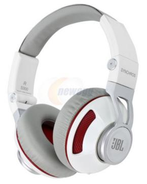 JBL Synchros S300 Premium On-Ear Headphones for IOS with built-in remote/Microphone - White/Red