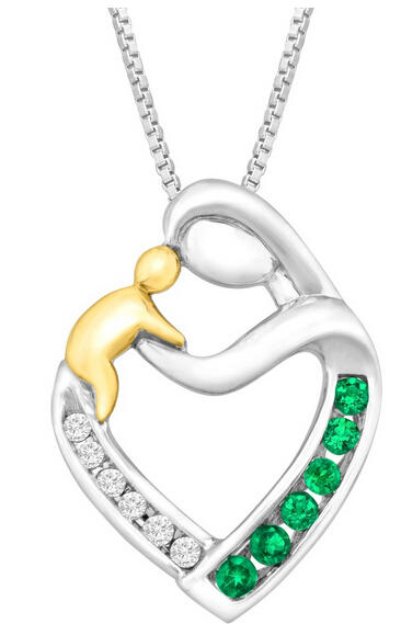 1/6 ct Emerald Mother & Child Pendant with Diamonds