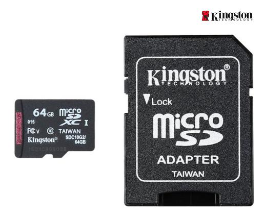 Kingston 64GB microSDXC Flash Card + SD Adapter