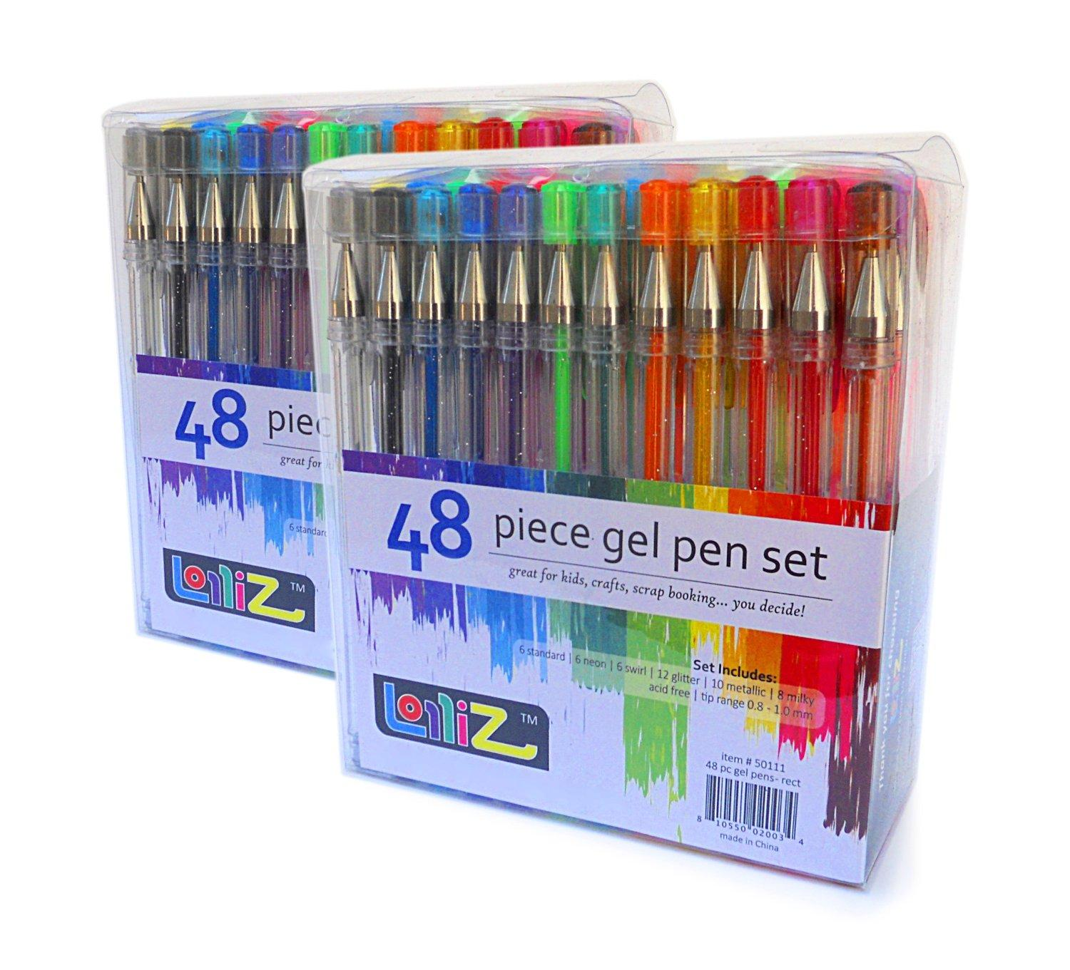 $14.99 LolliZ Gel Pens 2 Packs of 48 Gel Pen Tray Set