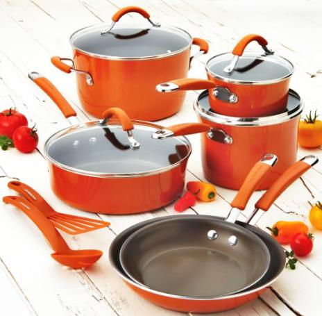 Rachael Ray Cucina Hard/Porcelain Enamel Nonstick 12-Piece Cookware Set, Pumpkin Orange