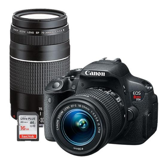 $649.98 Canon EOS Rebel T5i 18.0MP DSLR Camera with 18-55mm Lens, Extra 75-300mm Lens & Free 16GB Memory Card