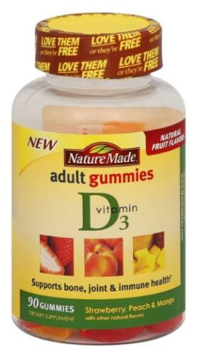 Nature Made Vitamin D3 Adult Gummies,Strawberry, Peach and Mango, 90 Count