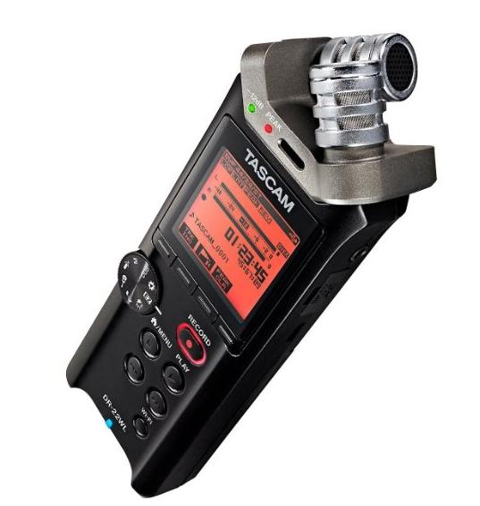 Tascam DR-22WL 2-Channels Portable Handheld Audio Recorder with Wi-Fi, 3.5mm Mini Jack, Connector, 10kOhms Impedance