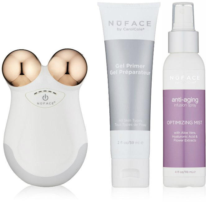 NuFACE Limited Edition Mini White Rose Facial Toning Device, Rose Gold