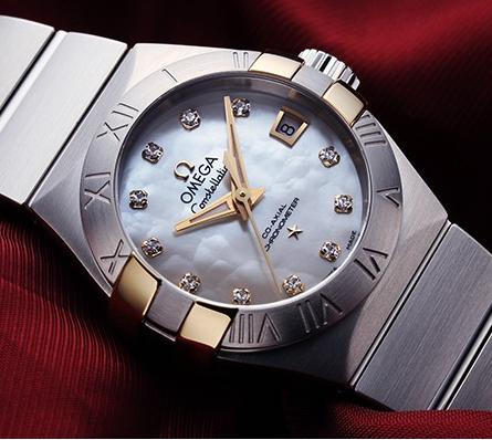$3445 Omega Constellation Co-Axial Mother of Pearl Stainless Steel Ladies Watch 123.20.27.20.55.005