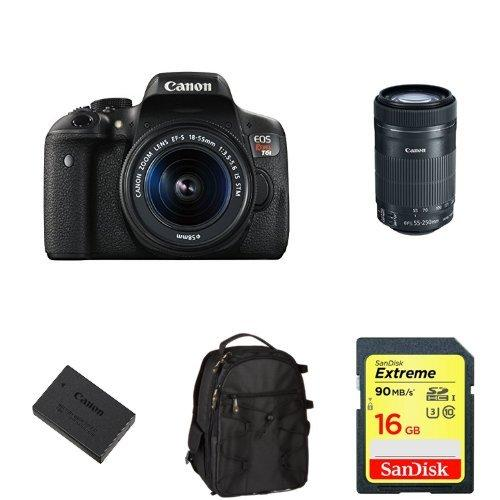 $549 Canon EOS Rebel T6i DSLR w/ EF-S 18-55mm and 55-250mm Lens + SD Card, Battery