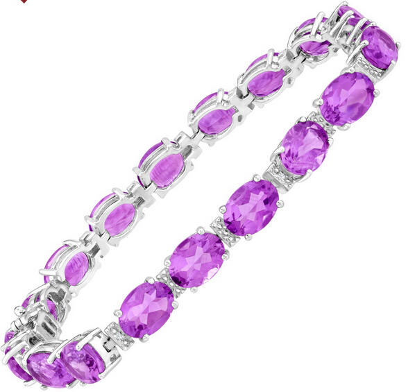 20 ct Amethyst Tennis Bracelet with Diamonds