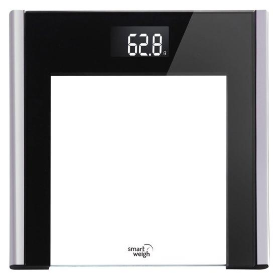 Smart Weigh Precision Ultra Slim Digital Bathroom Scale with Instant Step-on technology, Tempered Glass with Black Accents