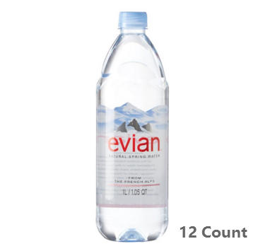 $13.68 evian Natural Spring Water 1 Liter, 12 Count